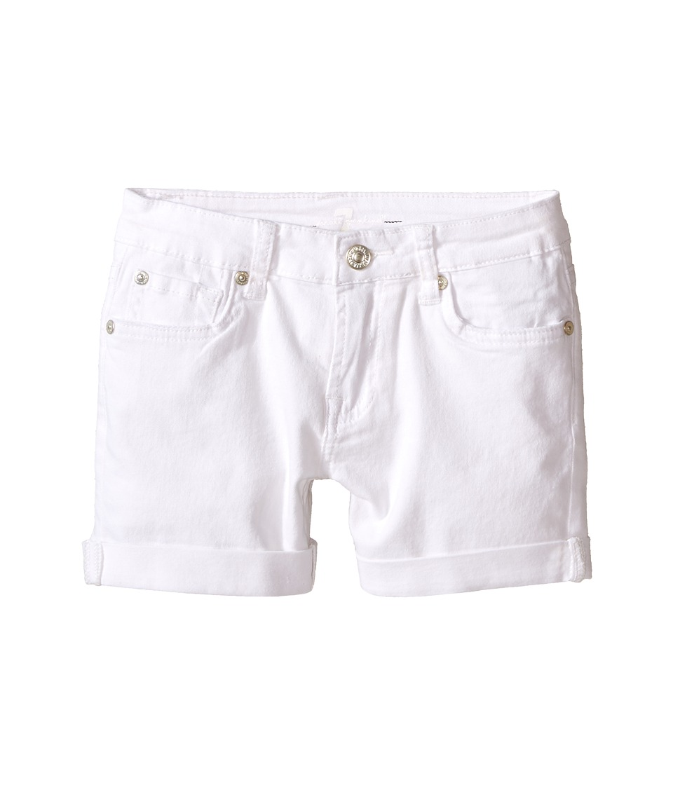 7 For All Mankind Kids - Denim Five-Pocket Cuff Shorts in Clean White (Little Kids) (Clean White) Girl's Shorts