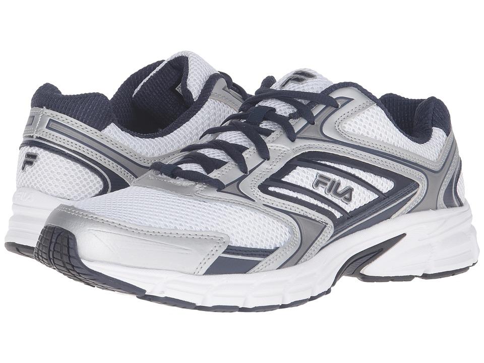 Fila - Xtent 4 (White/Fila Navy/Metallic Silver) Men's Shoes