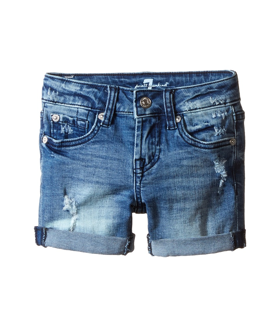 7 For All Mankind Kids - Five-Pocket Denim Cuff Shorts in Red Cast Heritage Blue (Little Kids) (Red Cast Heritage Blue) Girl's Shorts