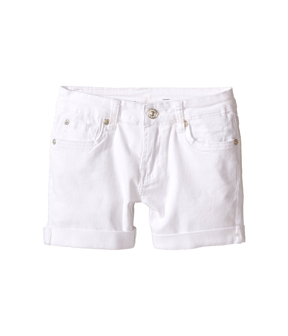 7 For All Mankind Kids - Denim Five-Pocket Cuff Shorts in Clean White (Big Kids) (Clean White) Girl's Shorts