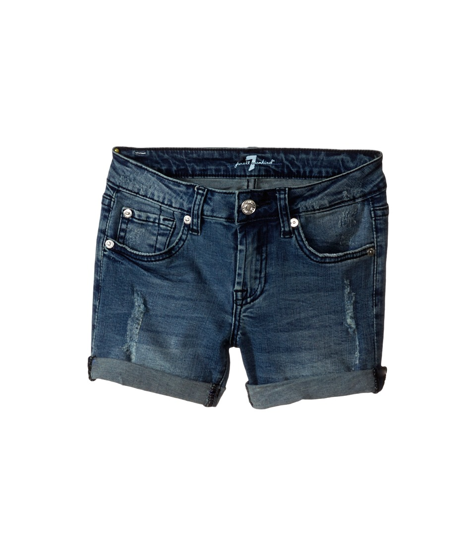 7 For All Mankind Kids - Five-Pocket Denim Cuff Shorts in Red Cast Heritage Blue (Big Kids) (Red Cast Heritage Blue) Girl's Shorts