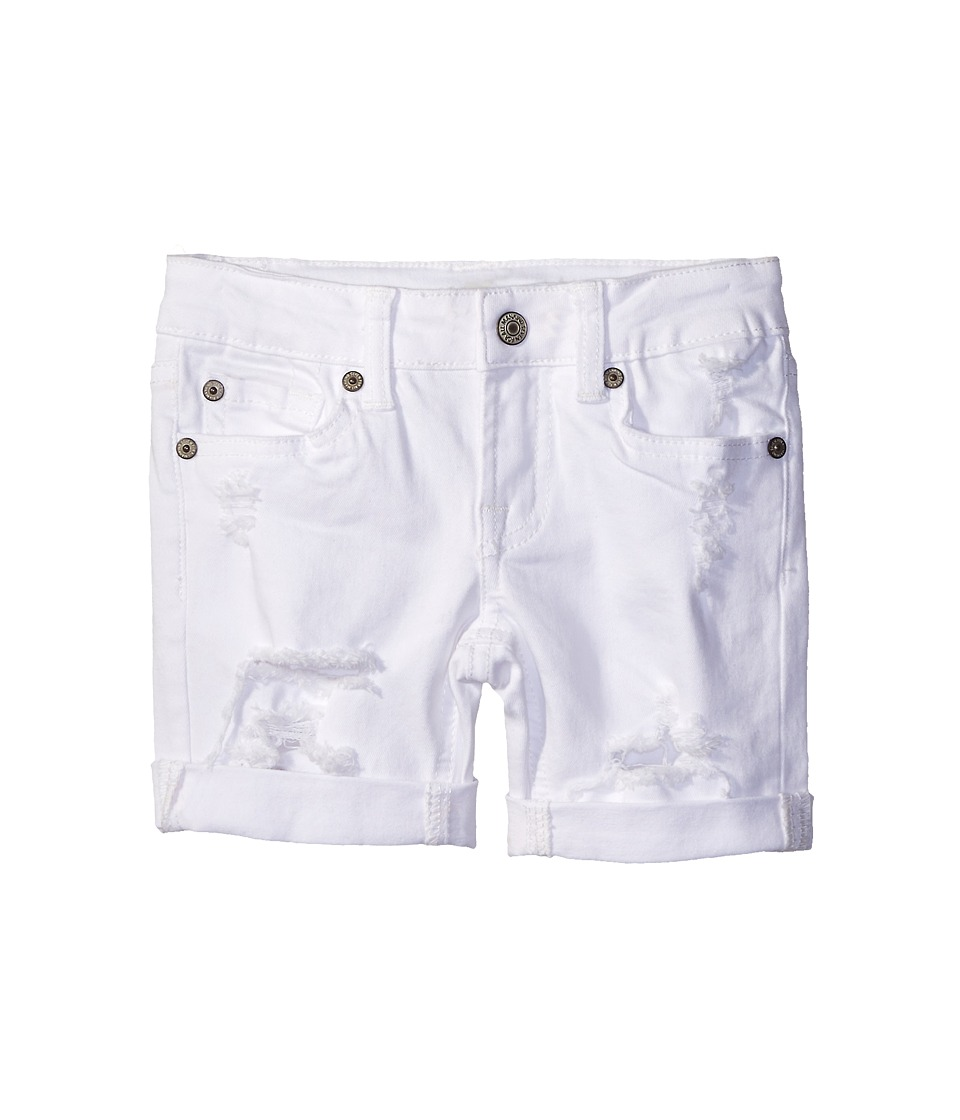 7 For All Mankind Kids - Five-Pocket Bermuda Roll Cuff Shorts in Destructed White (Little Kids) (Destructed White) Girl