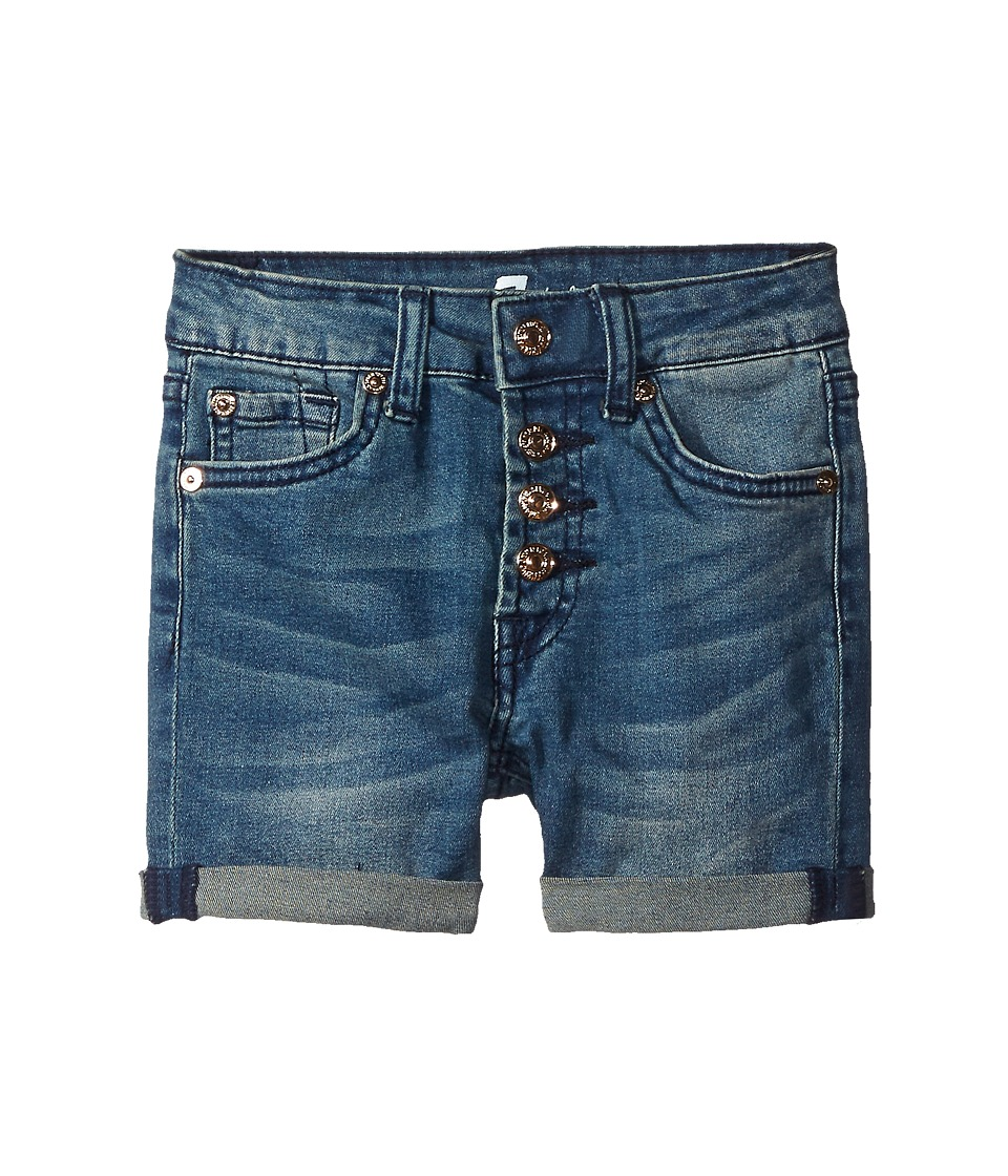 7 For All Mankind Kids - High Waisted Roll Cuff Denim Shorts in Medium Heritage (Little Kids) (Medium Heritage) Girl's Shorts