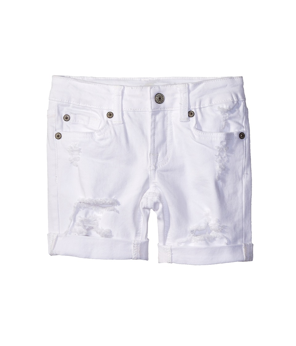 7 For All Mankind Kids - Five-Pocket Bermuda Roll Cuff Shorts in Destructed White (Big Kids) (Destructed White) Girl's Shorts