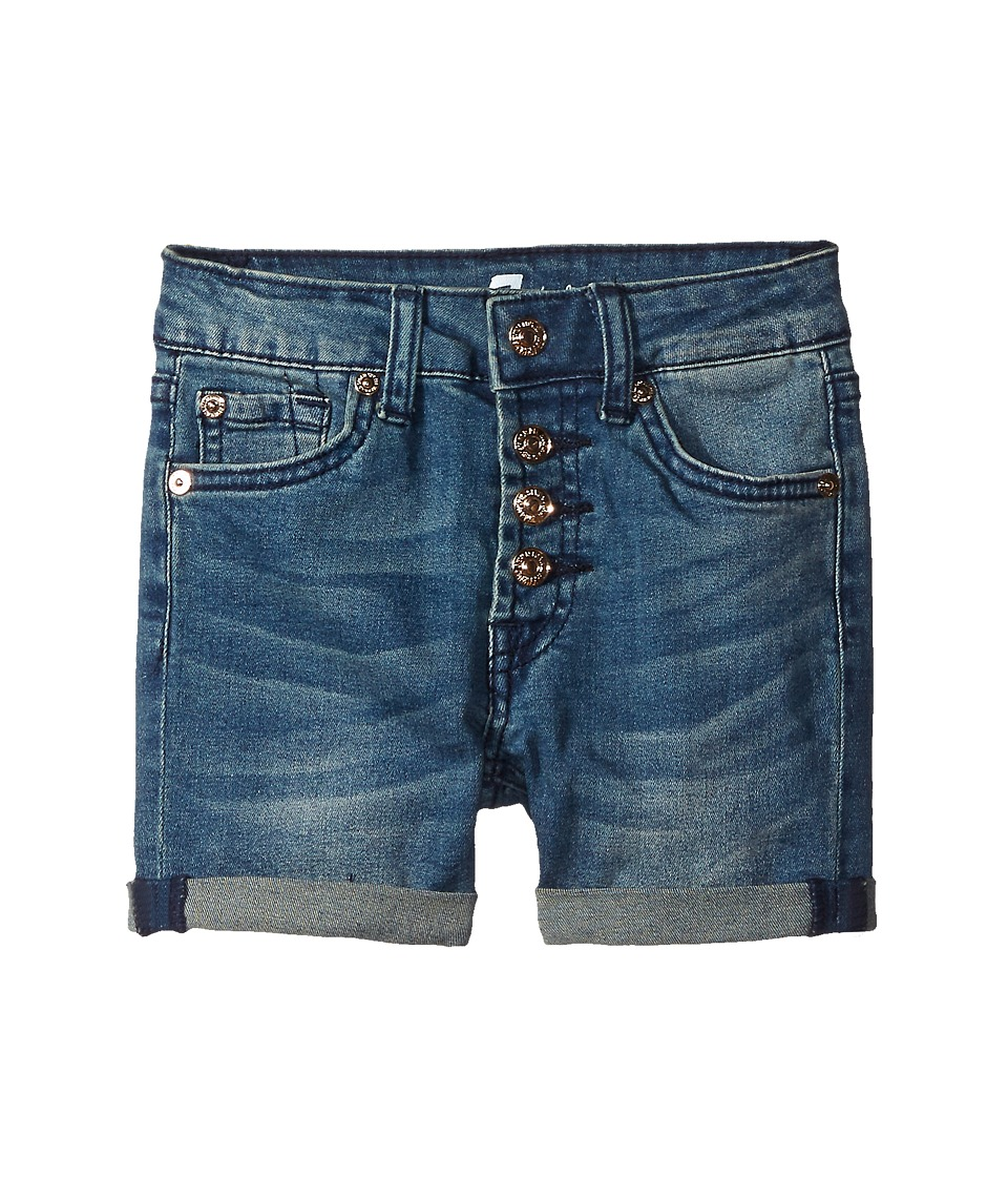7 For All Mankind Kids - High Waisted Roll Cuff Denim Shorts in Medium Heritage (Big Kids) (Medium Heritage) Girl's Shorts