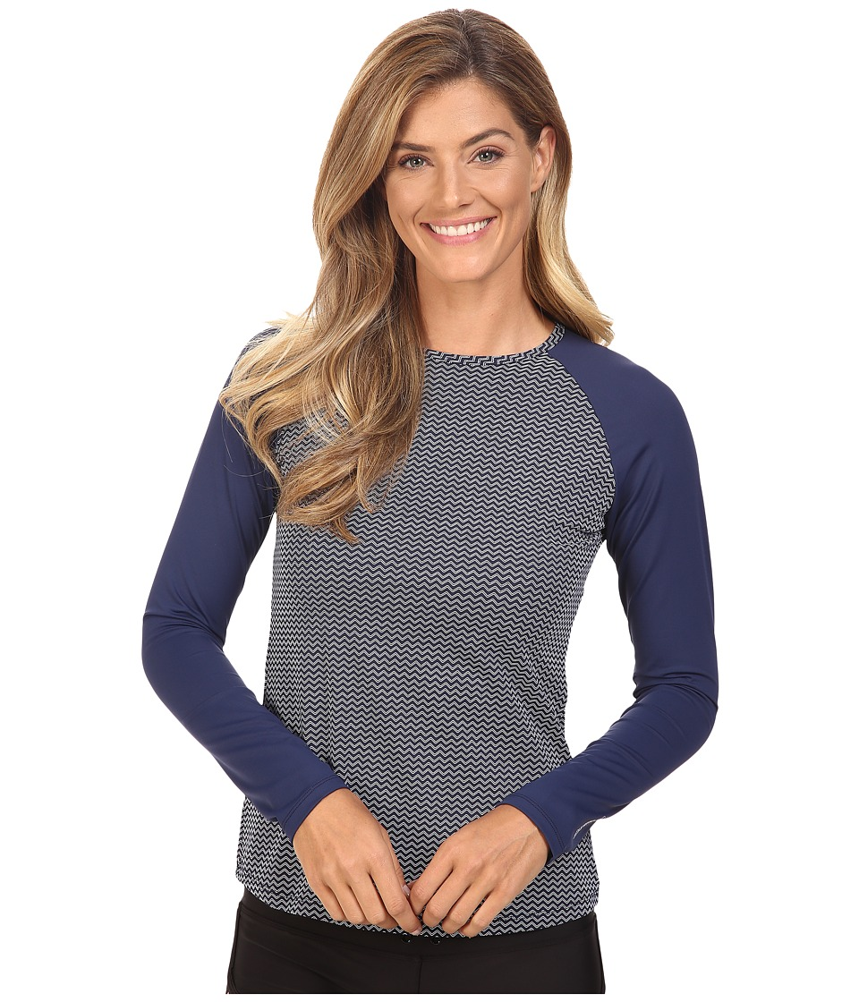 Carve Designs Sunset Rash Guard (Anchor Chevron) Women