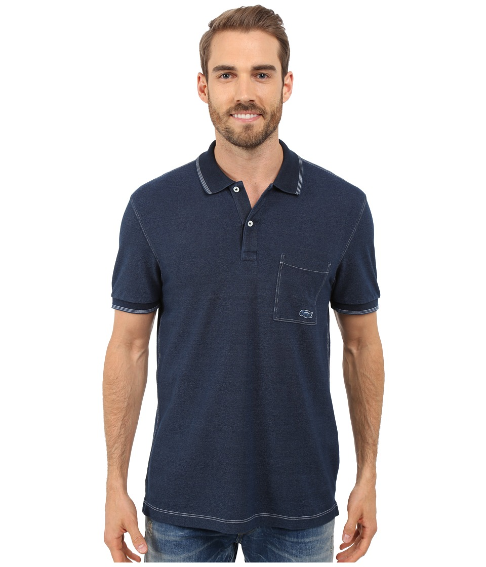 Lacoste - Short Sleeve Pique Indigo Dyed Polo (Dark Indigo) Men's Clothing