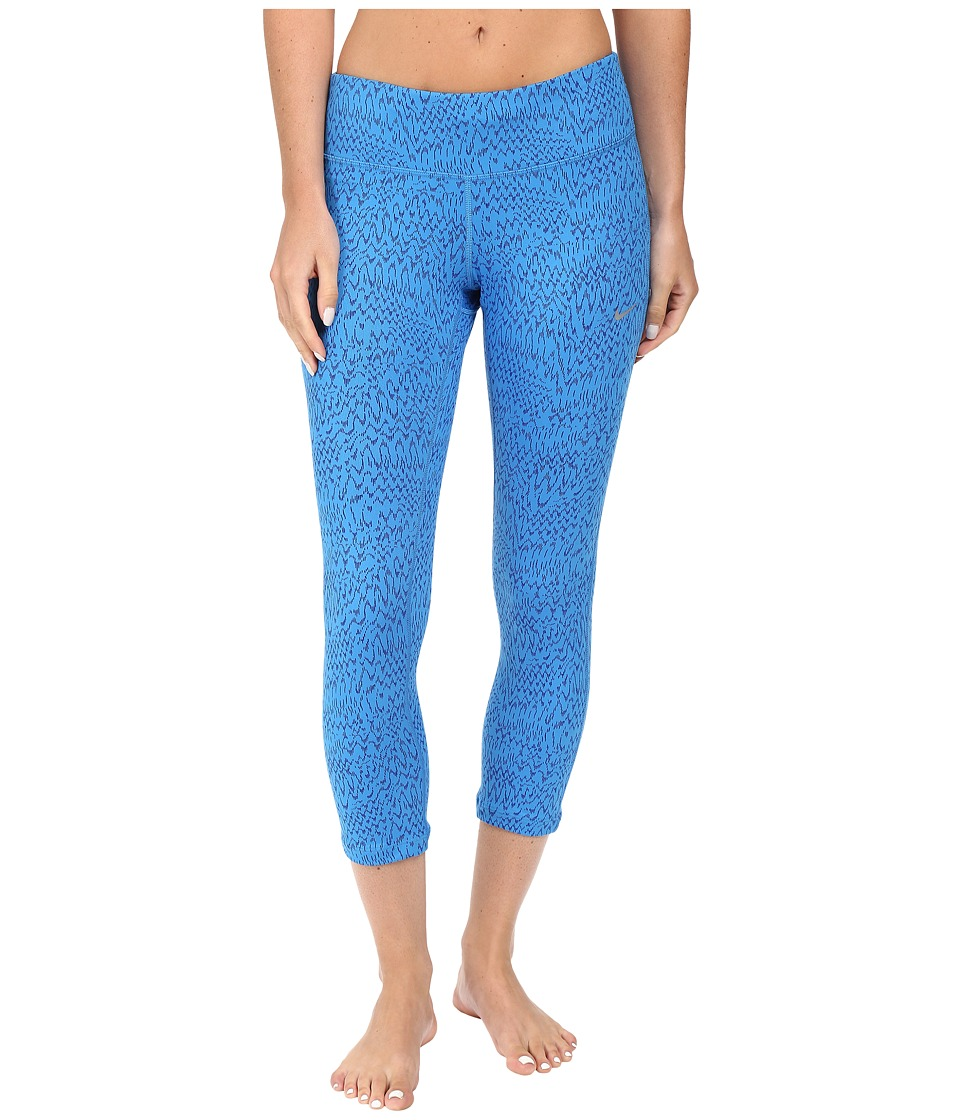 Nike - Power Epic Print Running Crop (Light Photo Blue/Reflective Silver) Women's Clothing
