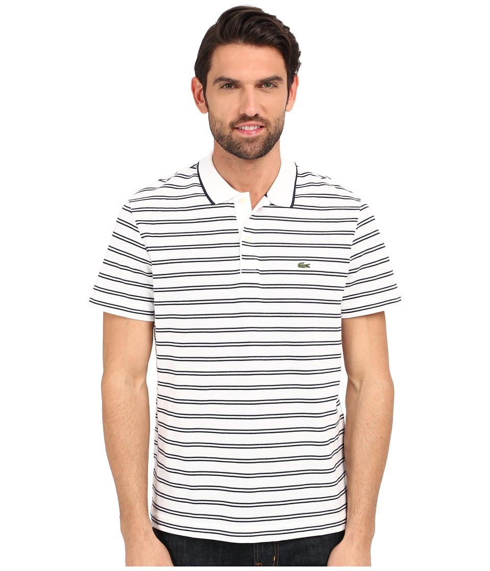 Lacoste - Short Sleeve Pique/Jersey Stripe Polo (White/Navy Blue) Men's Clothing