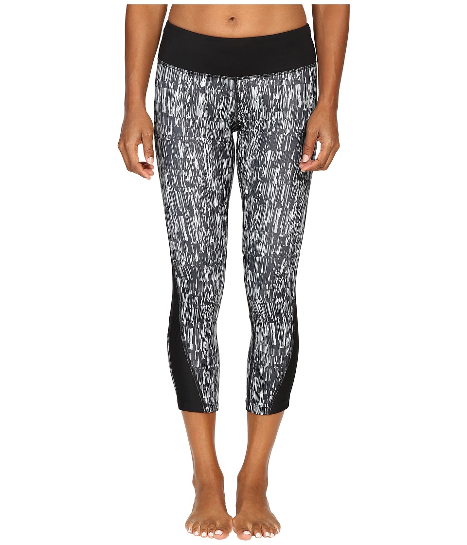 Nike - Power Graphic Running Crop (Black/Black/Black/Reflective Silver) Women's Clothing