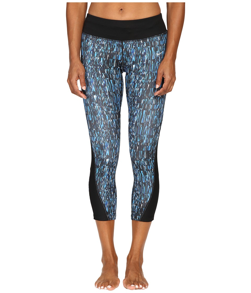 Nike - Power Graphic Running Crop (Light Photo Blue/Black/Reflective Silver) Women's Clothing