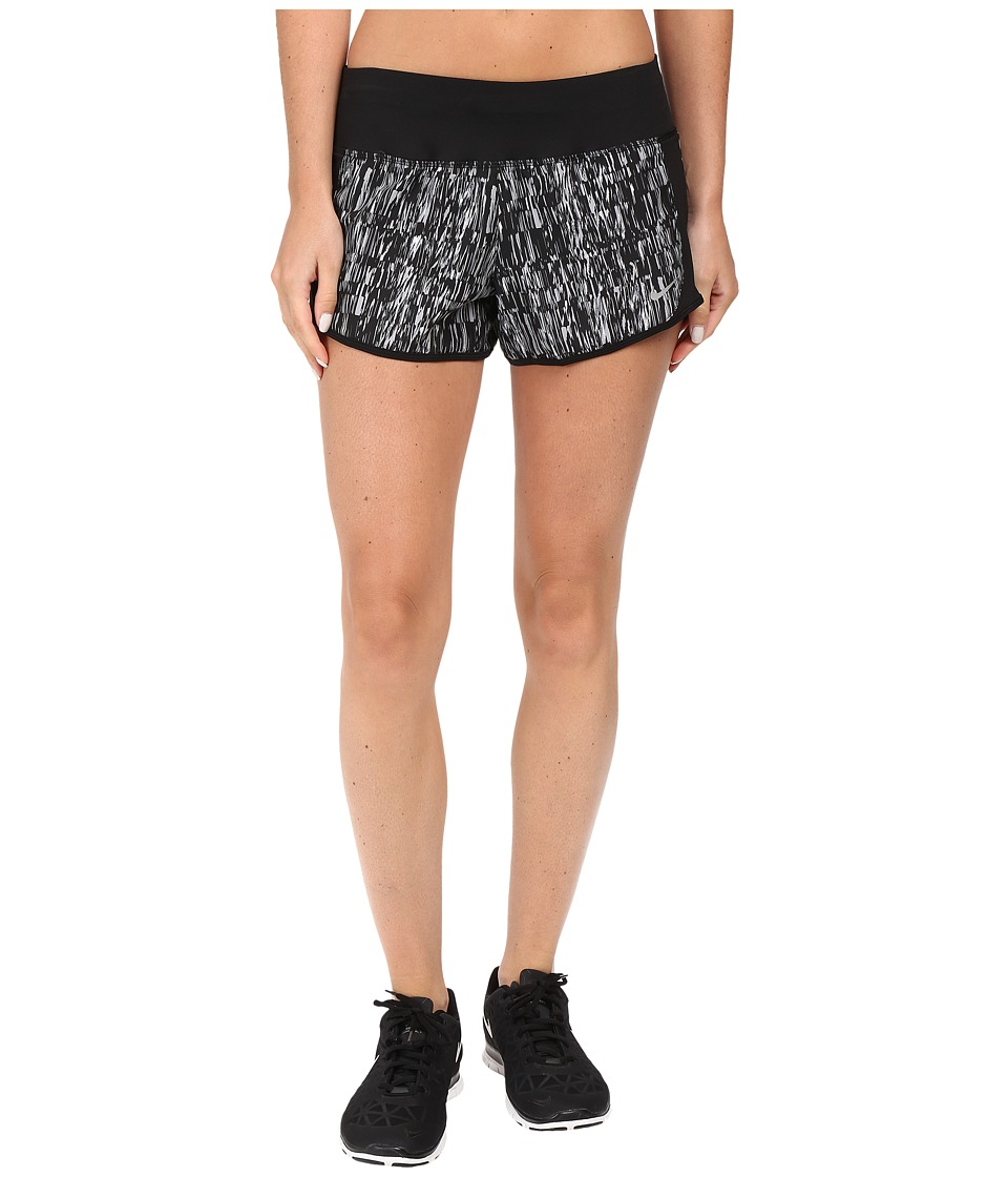Nike Dry Crew Print Running Short (Cool Grey/Black/Reflective Silver) Women