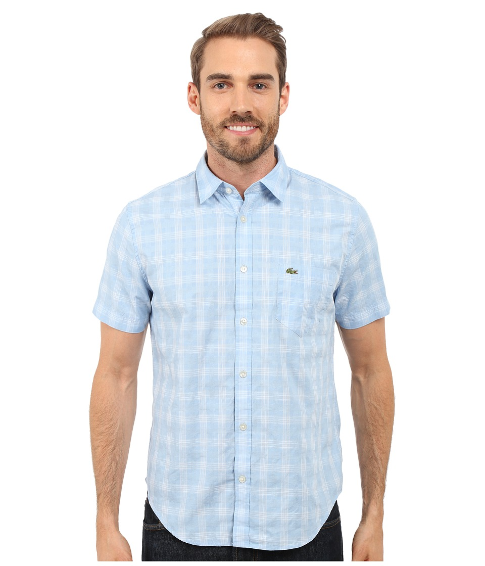 Lacoste - Short Sleeve Textured Check Regular Fit Woven Shirt (Nattier Blue/White) Men's Clothing