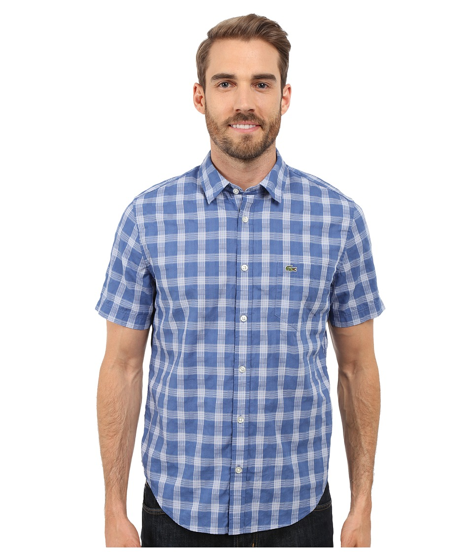 Lacoste - Short Sleeve Textured Check Regular Fit Woven Shirt (Iodine/White) Men's Clothing