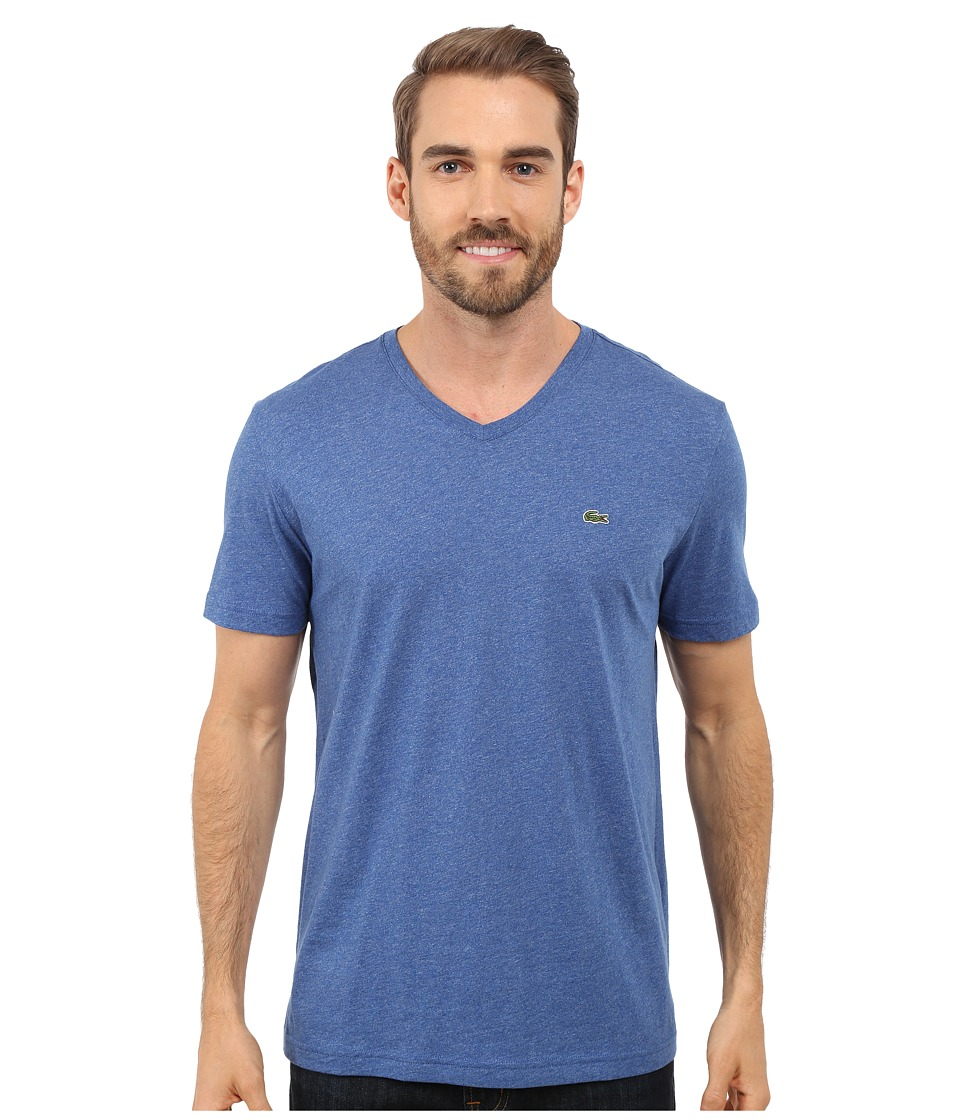 Lacoste - S/S Pima Jersey V-Neck T-Shirt (Tourmaline Chine) Men's Short Sleeve Pullover