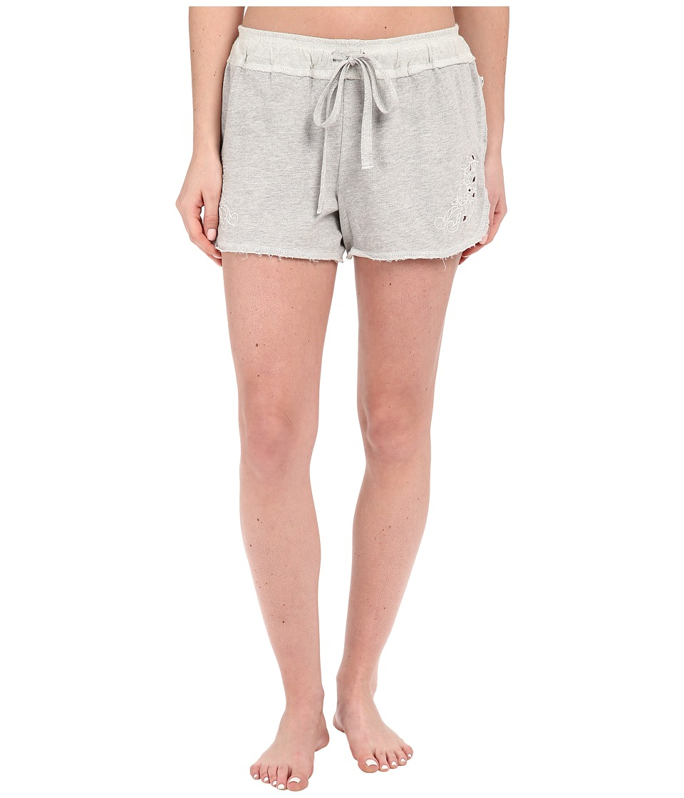 Lucky Brand - Embroidered French Terry Shorts (Heather Grey 1) Women's Pajama
