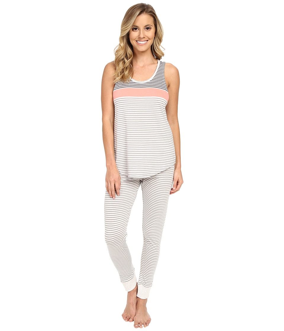 Lucky Brand - Leggings PJ Set (Coral Yarn-Dye Stripe) Women