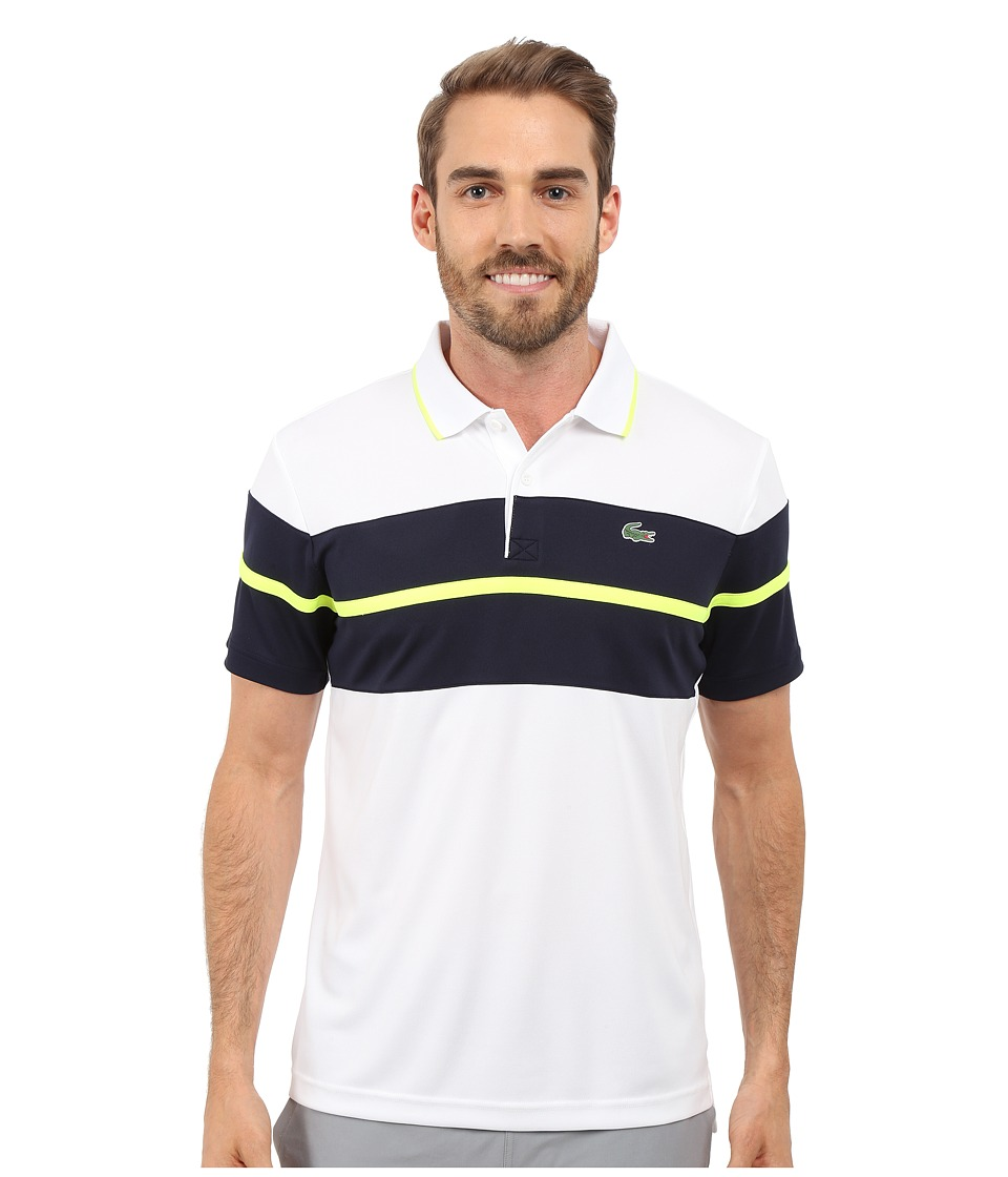 Lacoste - SPORT Ultra Dry Chest Stripe Polo (White/Navy Blue/Fluo Yellow) Men's Clothing