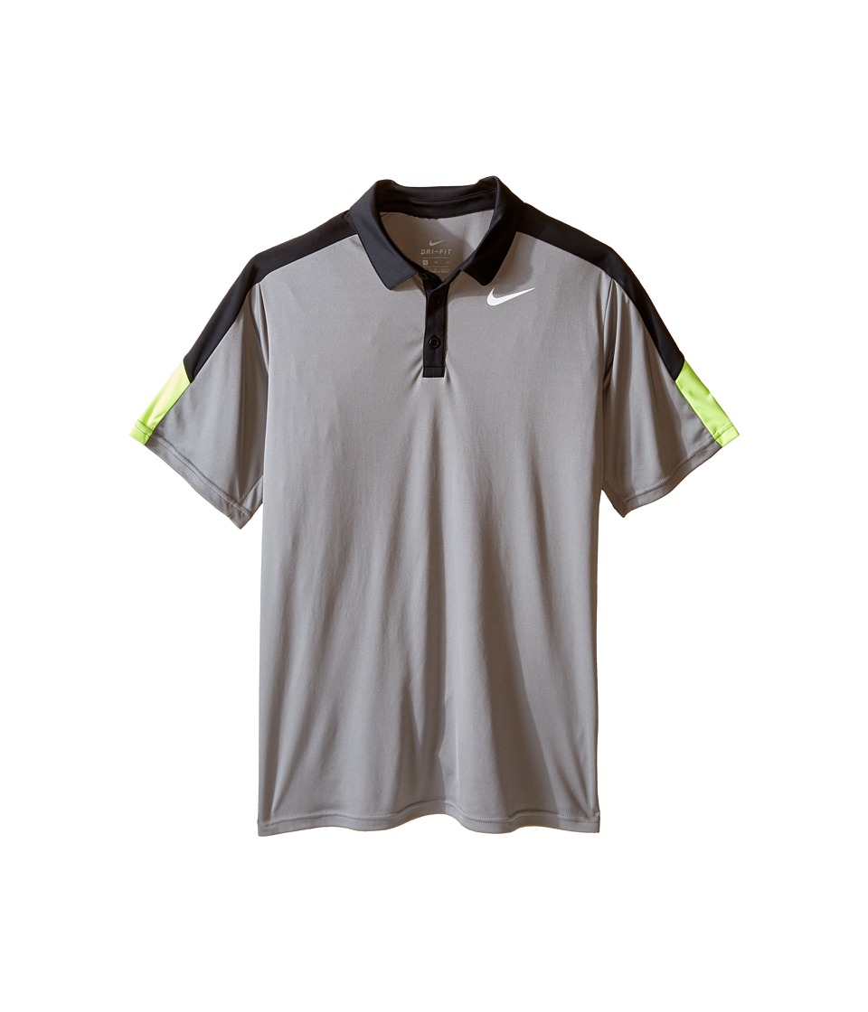 Nike Kids - Dry Short Sleeve Tennis Polo (Little Kids/Big Kids) (Dark Steel Grey/Black/Volt/White) Boy's Short Sleeve Pullover
