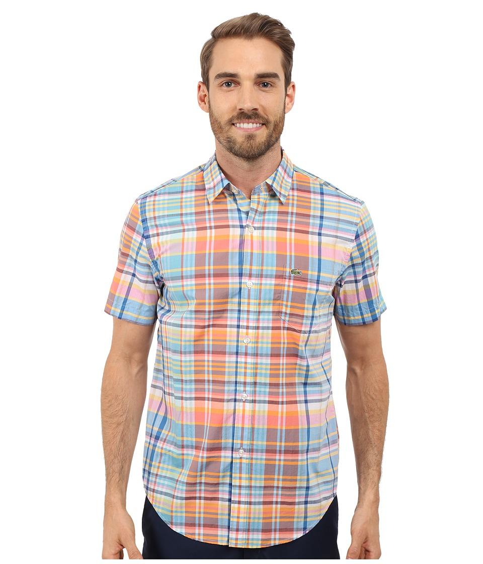 Lacoste - Plaid Poplin Woven Shirt (Papaya/Multico) Men's Short Sleeve Button Up