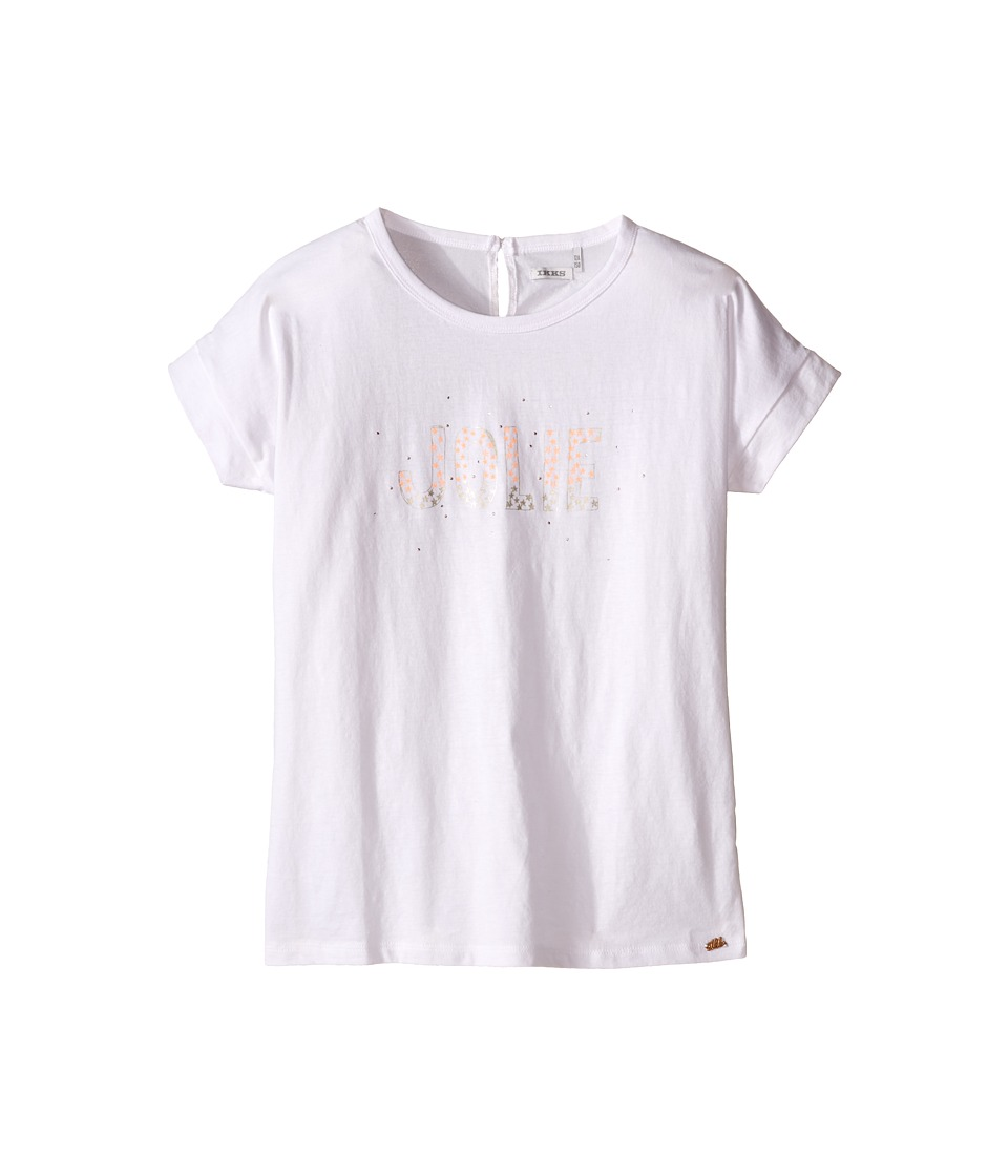 IKKS - Jersey Top with Bubble Sleeve Studs on Front (Toddler/Little Kids/Big Kids) (White) Girl's Short Sleeve Pullover