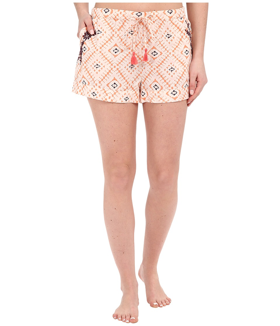Lucky Brand - Woven Embroidered Boxer (Coral Tile) Women's Pajama