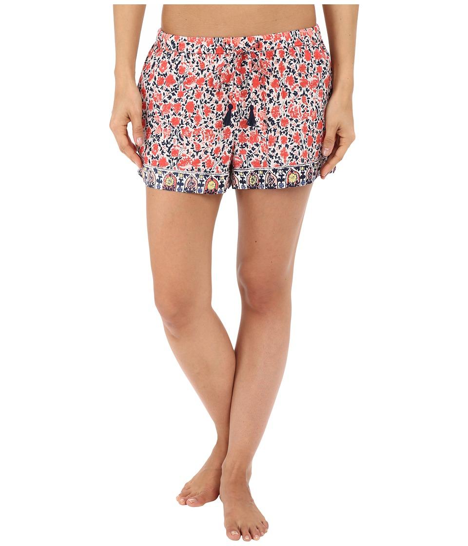Lucky Brand - Woven Embroidered Boxer (Coral Bohemian Garden) Women's Pajama