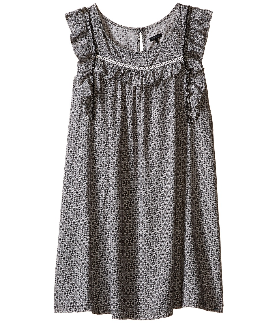 IKKS - Printed Dress with Flutter Sleeves (Little Kids/Big Kids) (Black/White Print) Girl's Dress