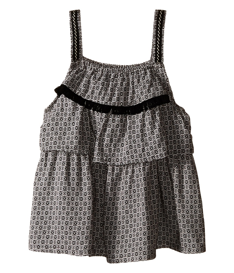 IKKS - Printed Top with Adjustable Embroidered Straps (Little Kids/Big Kids) (Black/White Print) Girl's Sleeveless