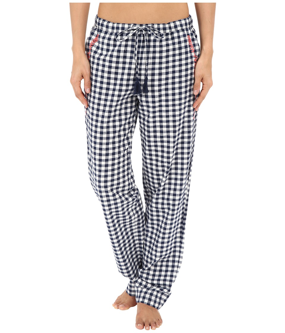 Lucky Brand - Woven Embroidered Pants (Navy Gingham) Women's Pajama