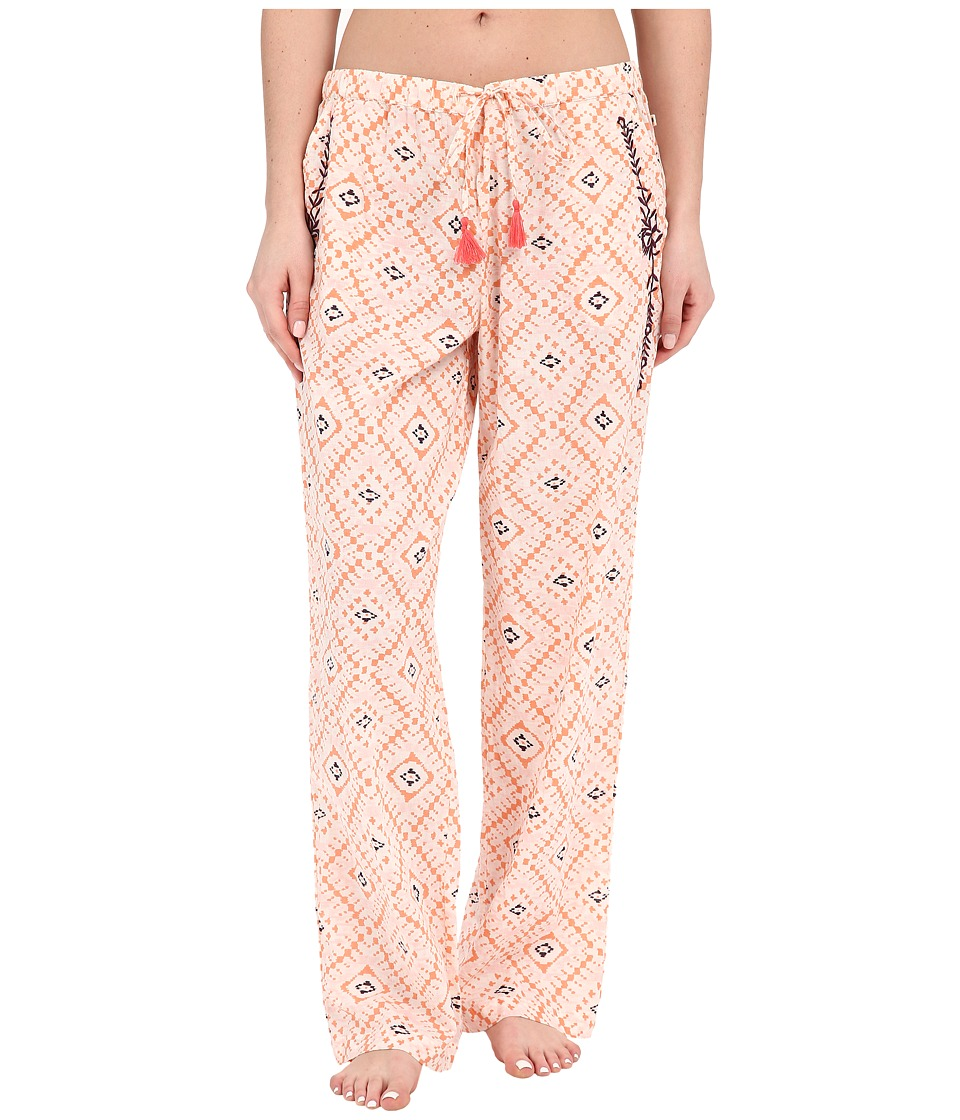 Lucky Brand - Woven Embroidered Pants (Coral Tile) Women's Pajama