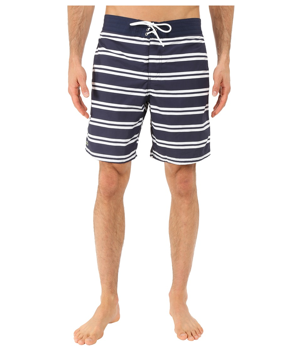 Lacoste - Stripe Swim Boardshorts 8 (Navy Blue/White) Men's Swimwear