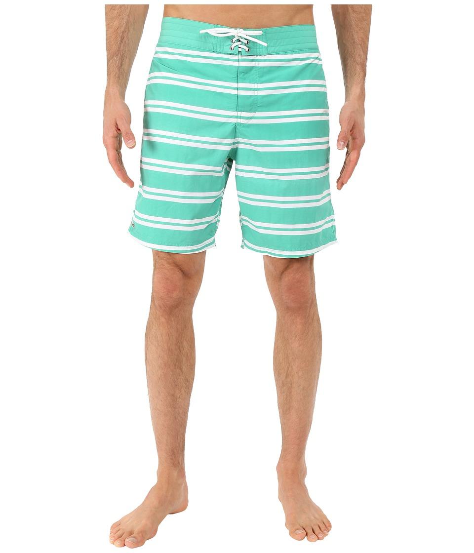 Lacoste - Stripe Swim Boardshorts 8 (Papeete/White) Men's Swimwear