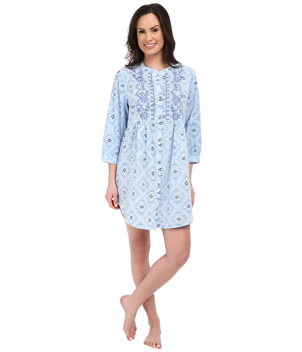 Lucky Brand - Embroidered Button Down Sleepshirt (Blue Tile) Women's Pajama