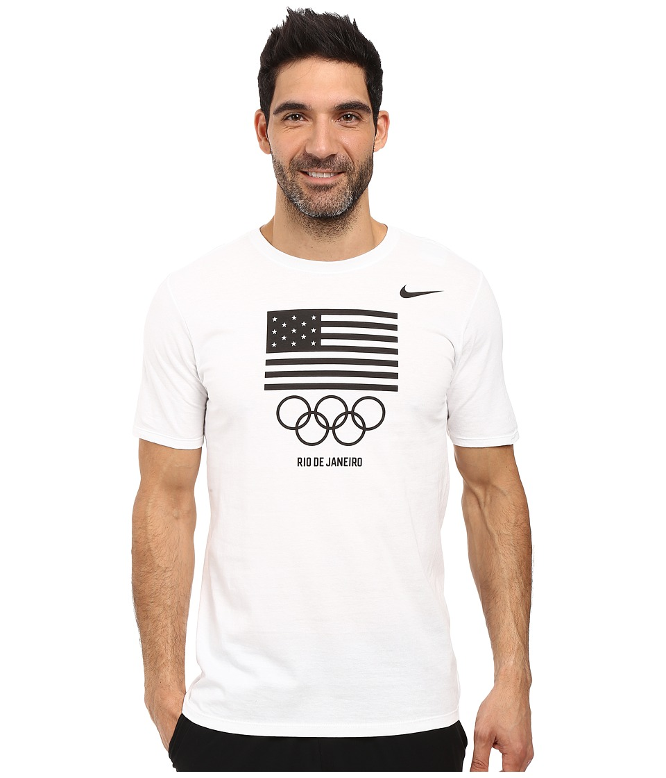Nike - Team USA Flag T-Shirt (White/Obsidian) Men's Clothing