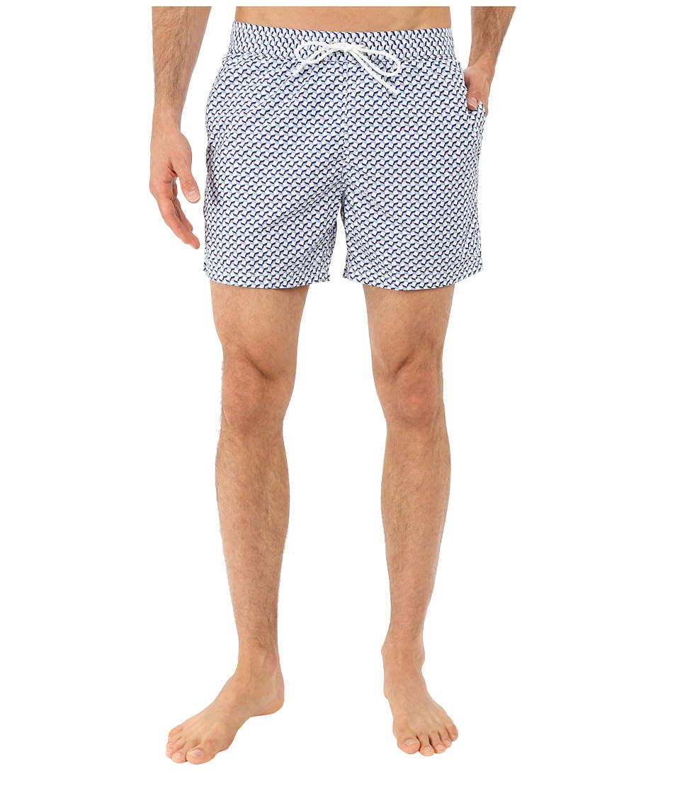 Lacoste - Small Patterned Swim Short (Nattier Blue 07E/Sailboat/White) Men's Swimwear
