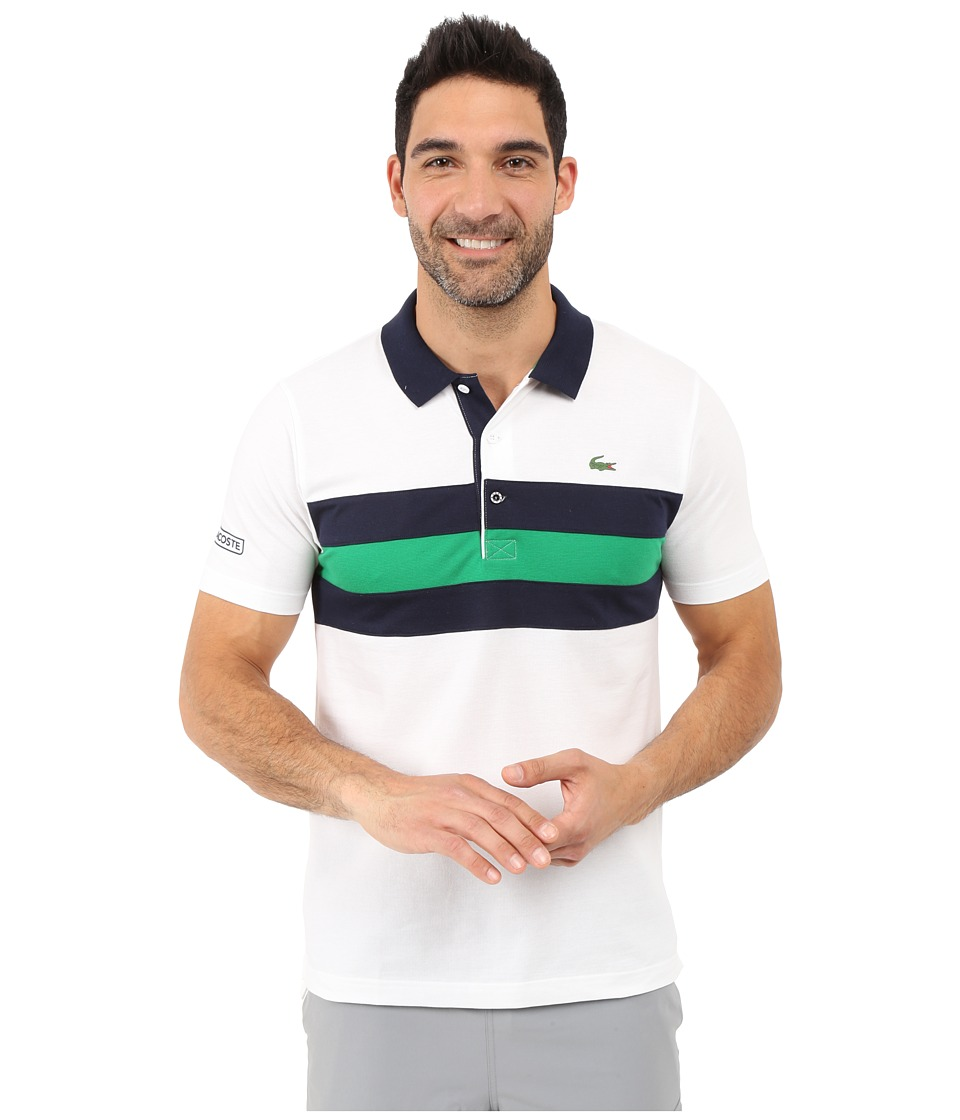 Lacoste - SPORT Super-Light Knit Tennis Polo (White/Navy Blue/Field Green) Men's Clothing