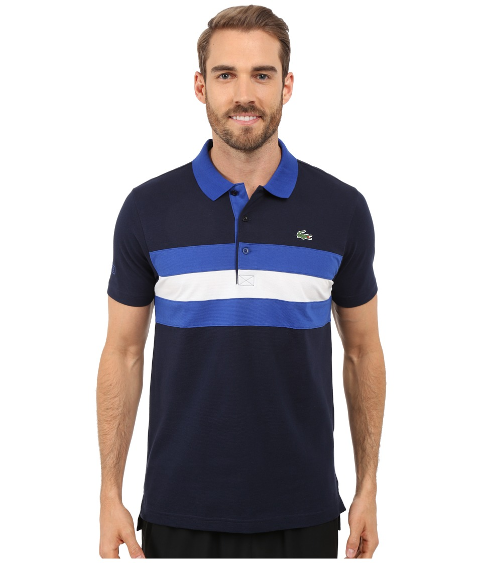 Lacoste - SPORT Super-Light Knit Tennis Polo (Navy Blue/Royal Blue/White) Men's Clothing