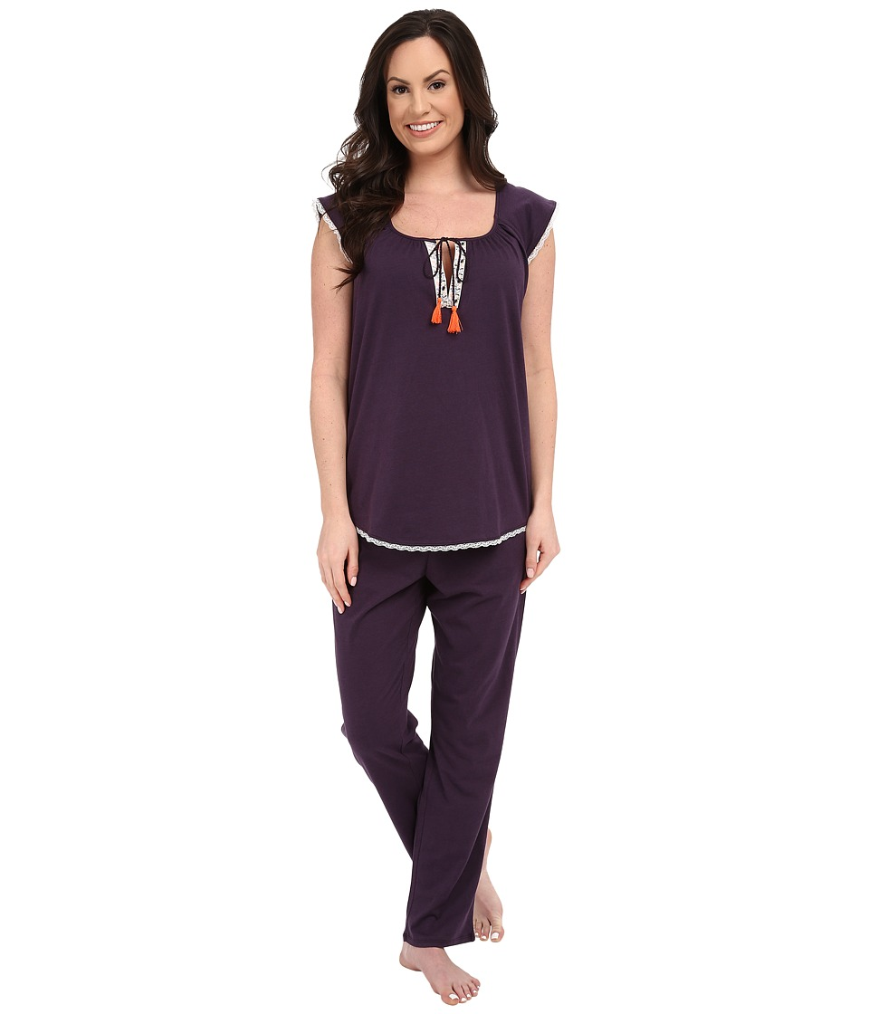 Lucky Brand - Knit Tassel Pajama (Fig) Women's Pajama Sets