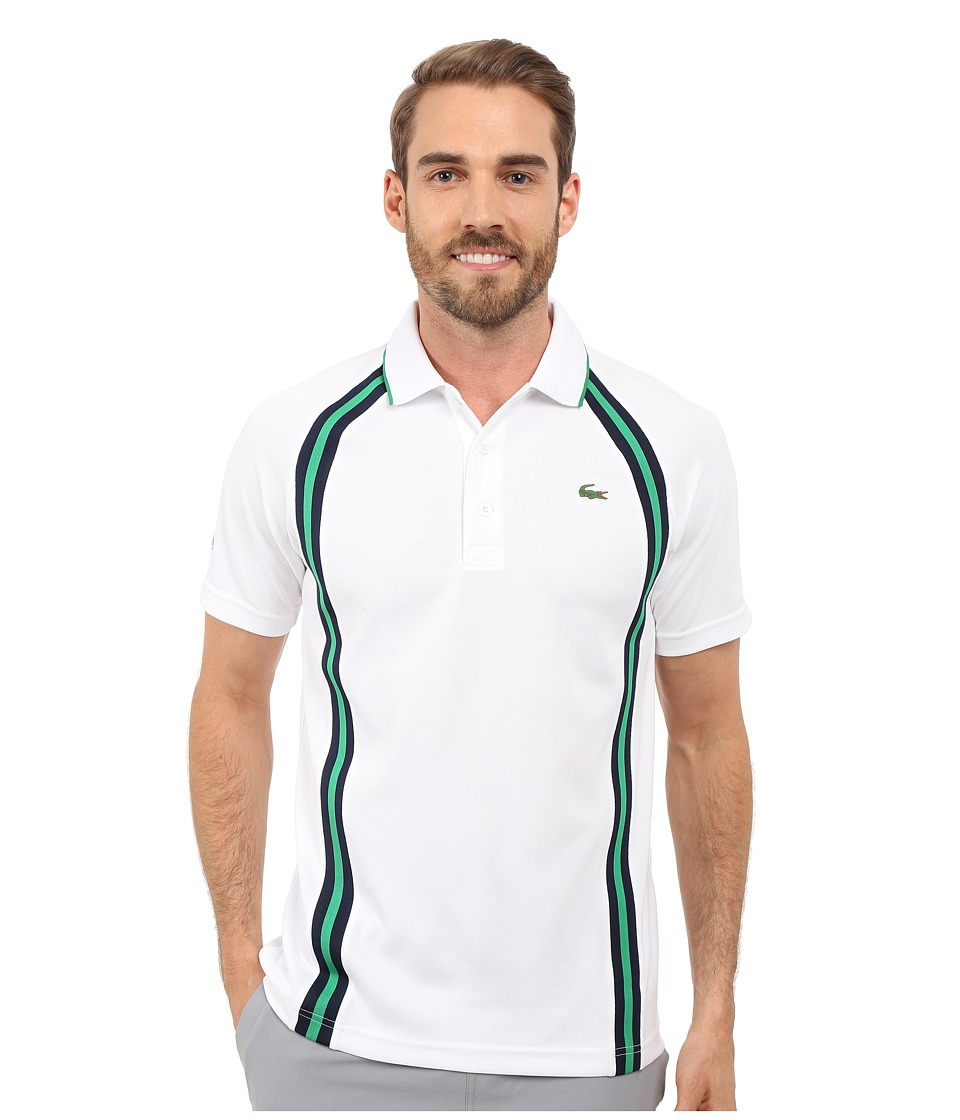 Lacoste - SPORT Ultra Dry Piqu Tennis Polo w/ Contrast Collar (White/Navy Blue/Field Green) Men's Clothing