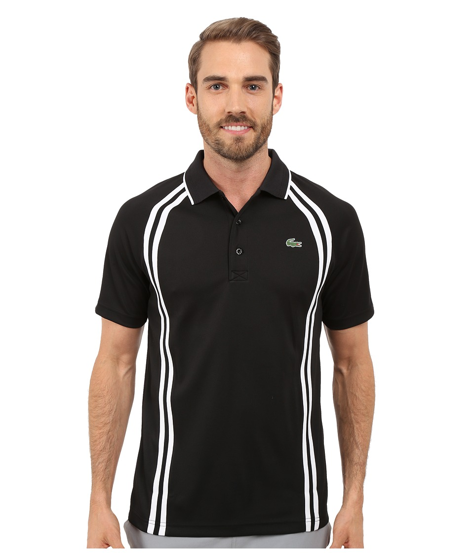 Lacoste - SPORT Ultra Dry Piqu Tennis Polo w/ Contrast Collar (Black/White/Black) Men's Clothing