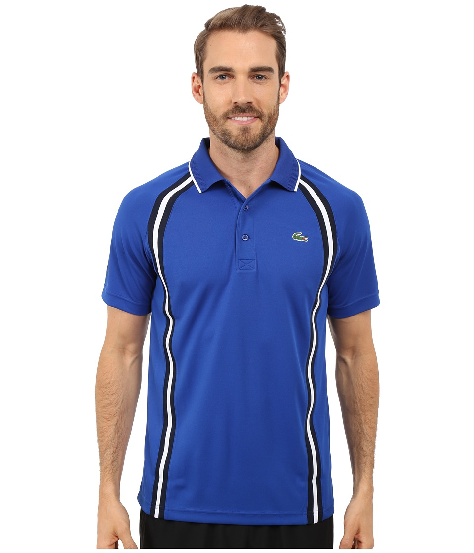 Lacoste - SPORT Ultra Dry Piqu Tennis Polo w/ Contrast Collar (Royal Blue/Navy Blue/White) Men's Clothing