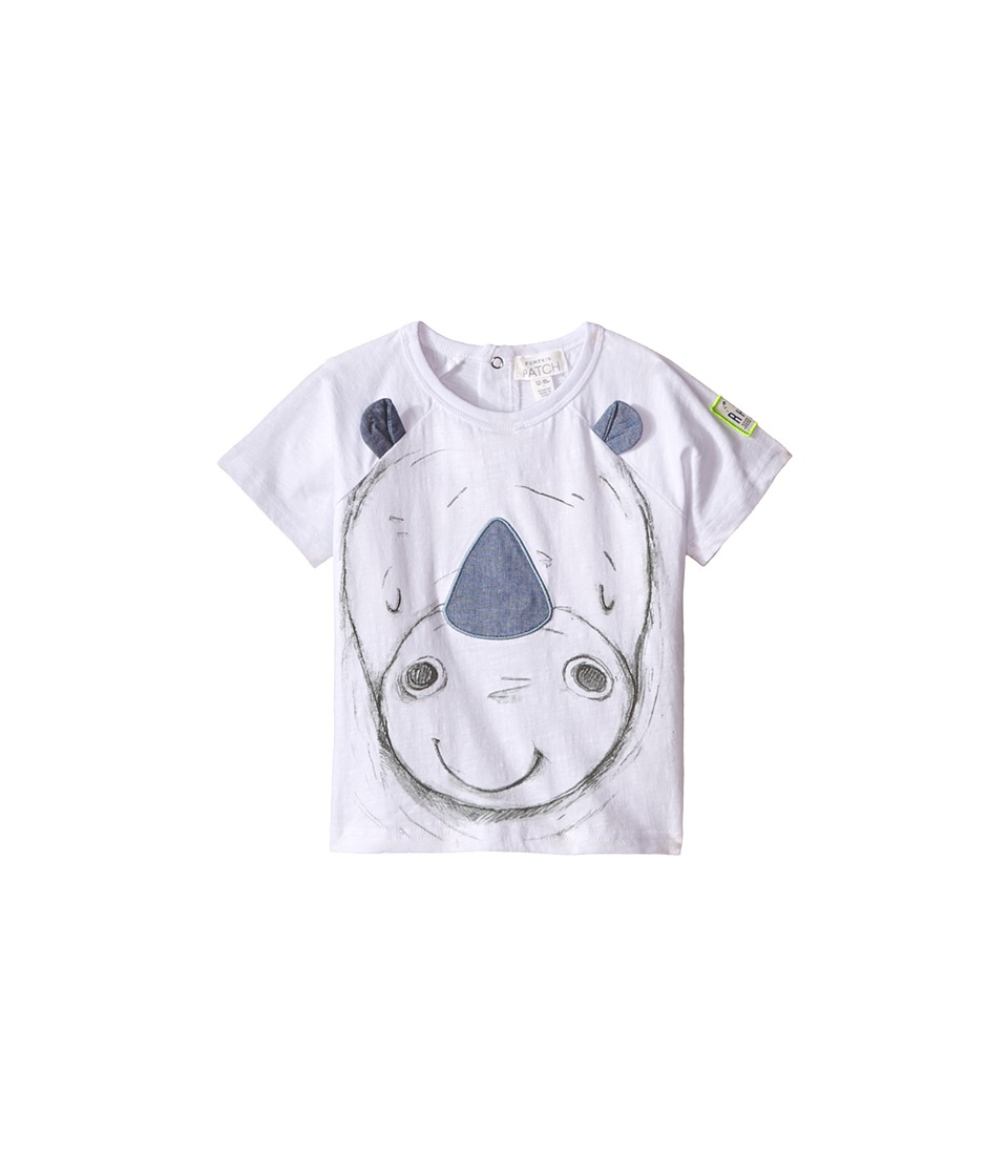 Pumpkin Patch Kids - Baby Rhino Face Tee (Infant) (Clean White) Boy's T Shirt