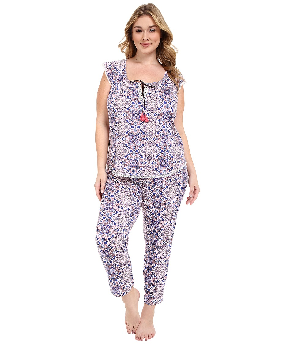 Lucky Brand - Plus Size Knit Tassel Pajama (Portu Tile) Women's Pajama Sets