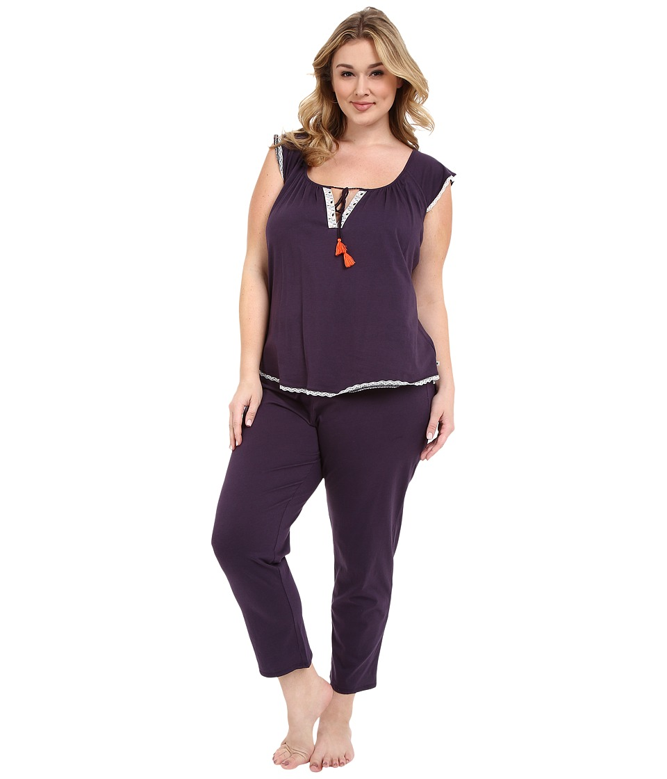 Lucky Brand - Plus Size Knit Tassel Pajama (Fig) Women's Pajama Sets
