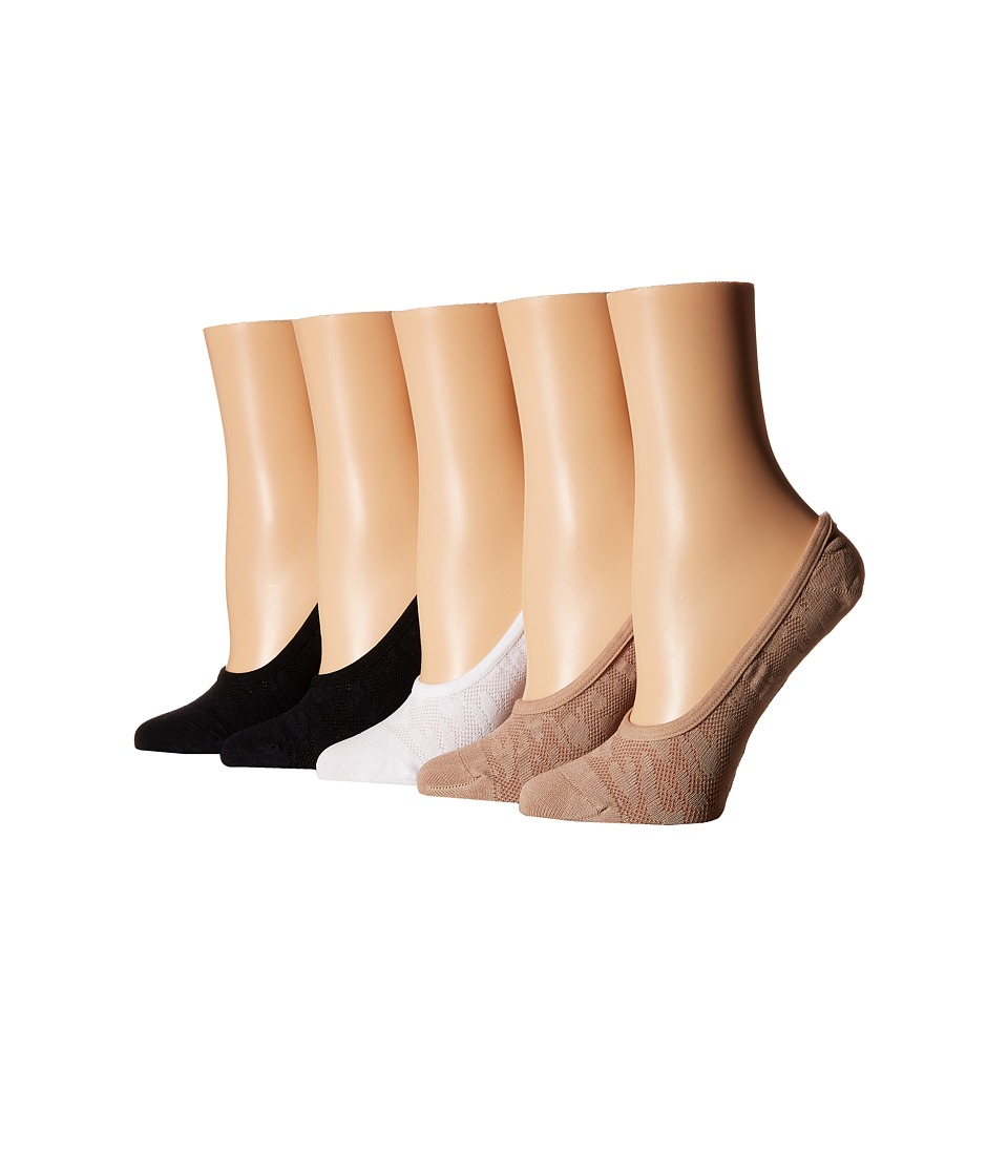 Steve Madden - 5-Pack Mesh Animal Texture Footie (Black/Nude/White) Women's No Show Socks Shoes