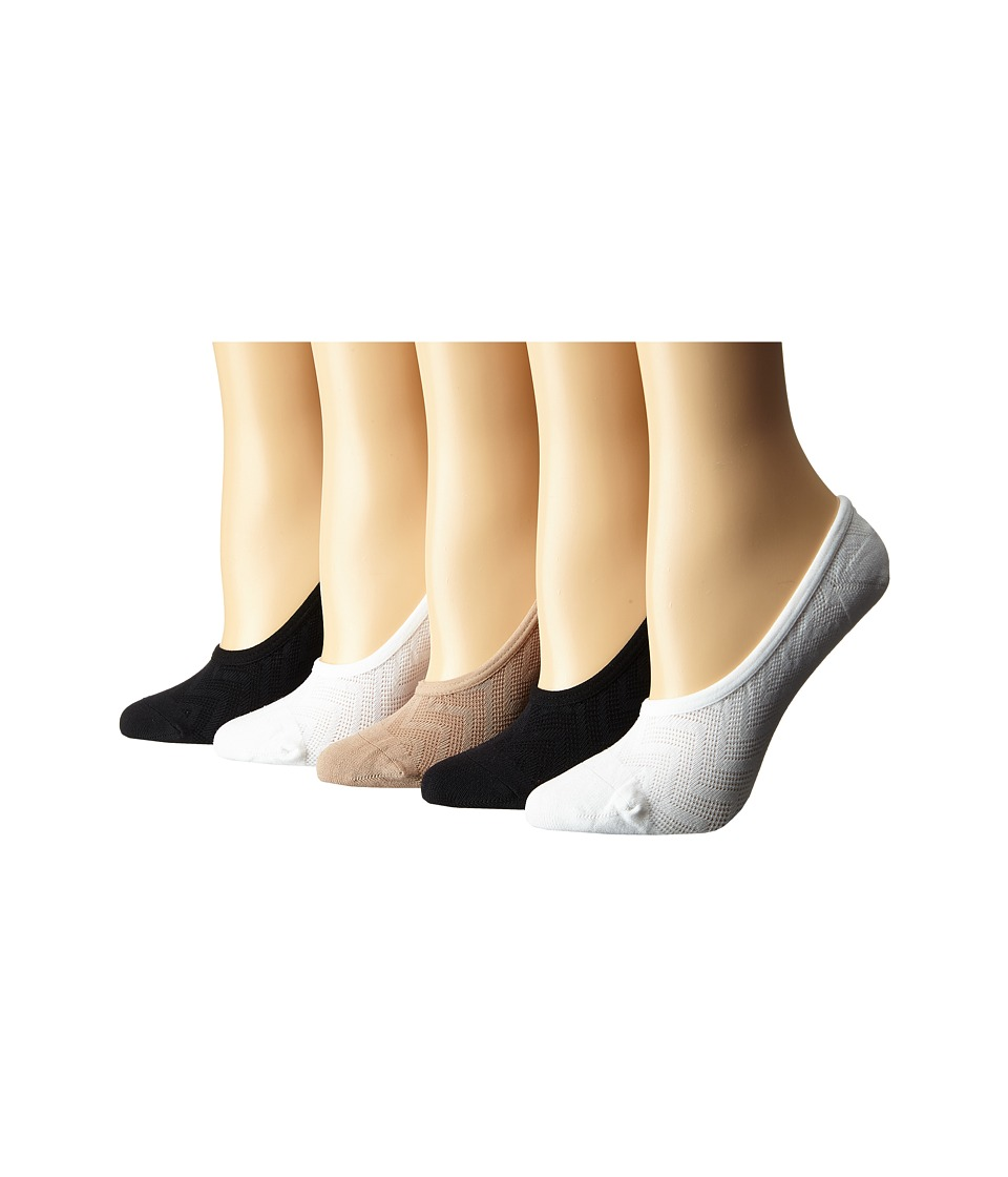 Steve Madden - 5-Pack Mesh Chevron Stripes Footie (Black/Nude/White) Women's No Show Socks Shoes