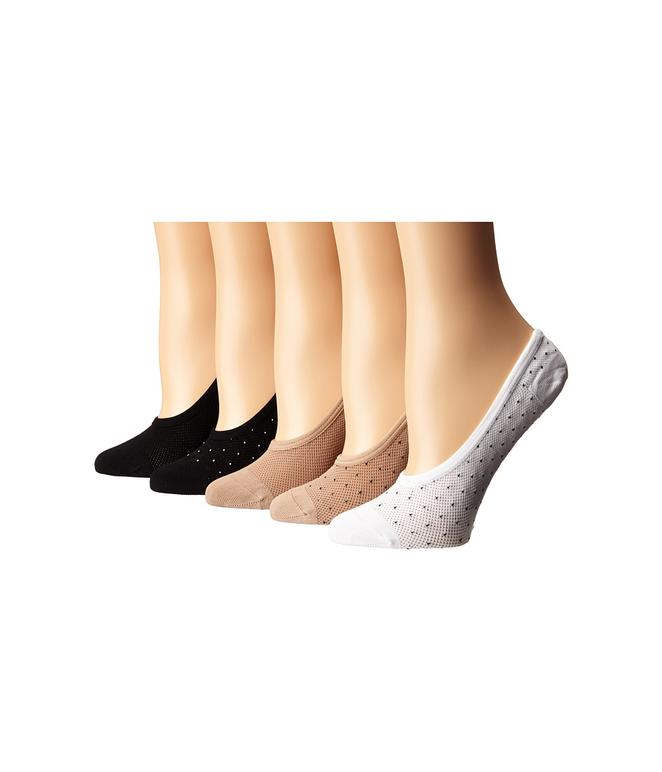 Steve Madden - 5-Pack Mesh Pindot Footie (Black/Nude/White) Women's No Show Socks Shoes