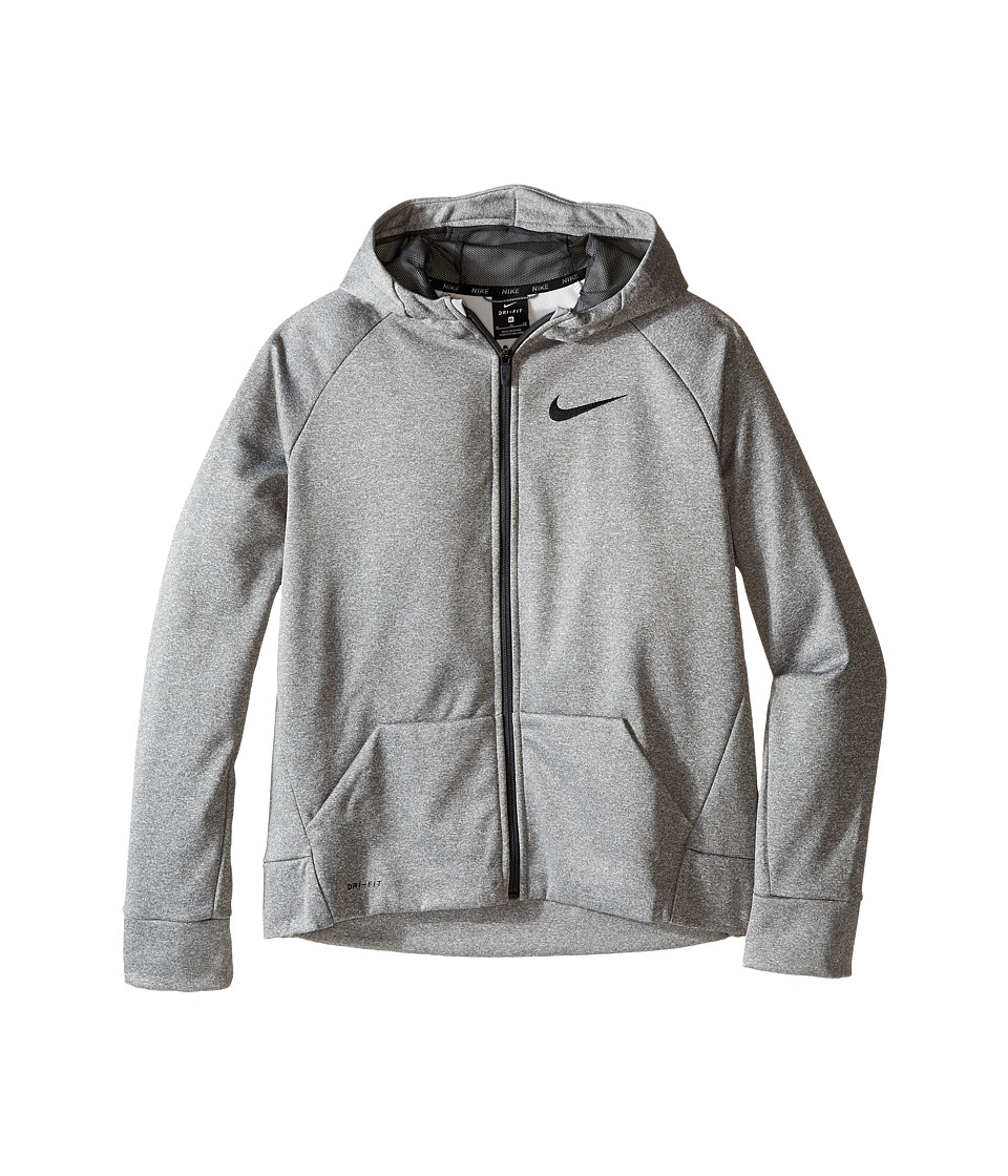 Nike Kids - Therma Full-Zip Hoodie (Little Kids/Big Kids) (Dark Grey Heather/Anthracite) Boy's Sweatshirt