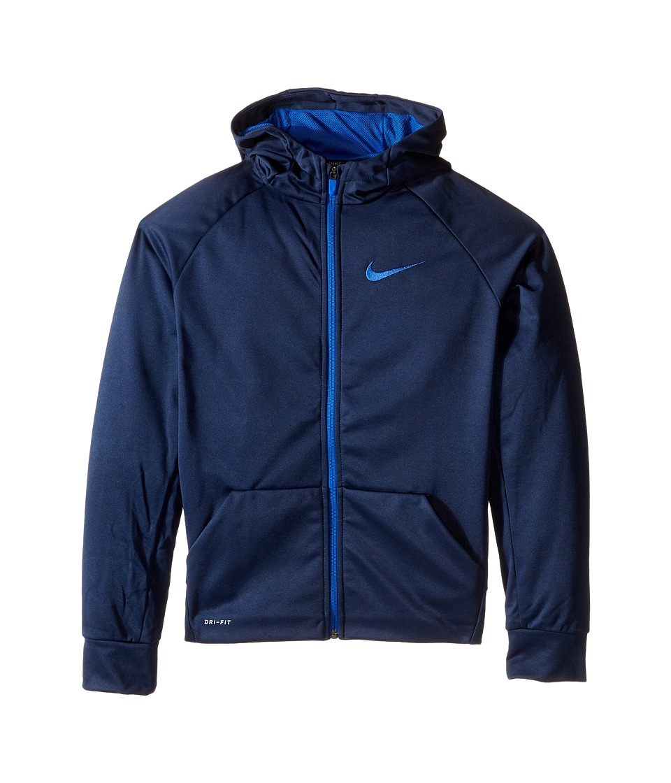 Nike Kids - Therma Full-Zip Hoodie (Little Kids/Big Kids) (Obsidian/Game Royal) Boy's Sweatshirt